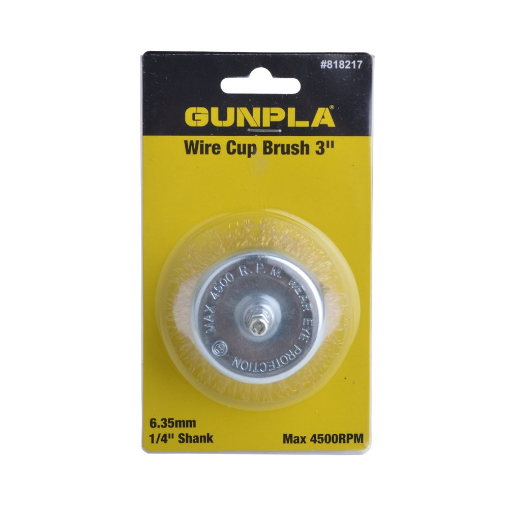 Gunpla 3 Wire Cup Brush with 1//4 Hex Shank Hardened Brass Steel Crimp Wheel Heavy Duty Wires Brushes for Metal Removal of Rust Corrosion Paint