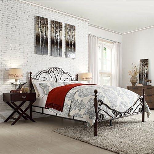 LeAnn Graceful Scroll Bronze Iron Bed Frame Queen