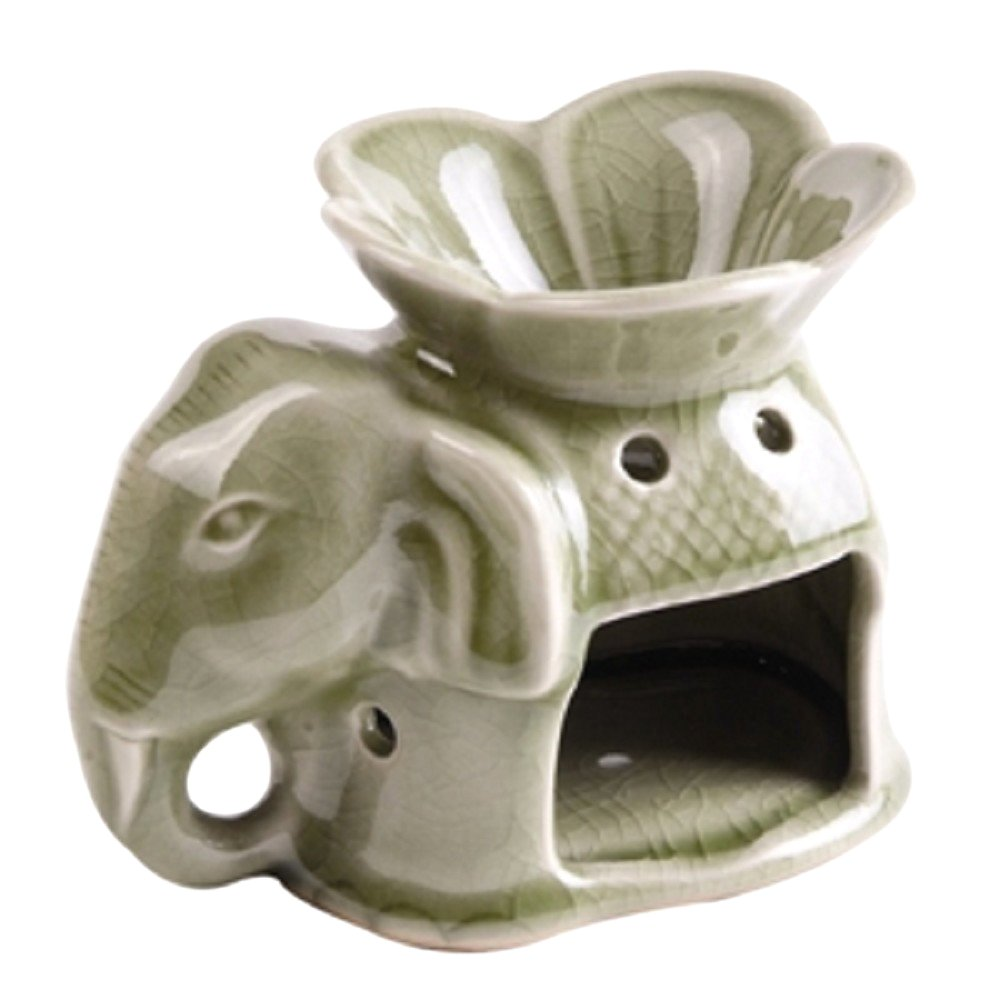 StealStreet 41235 6 inch Elephant & Flower Blossom Ceramic Oil Burner, Beige
