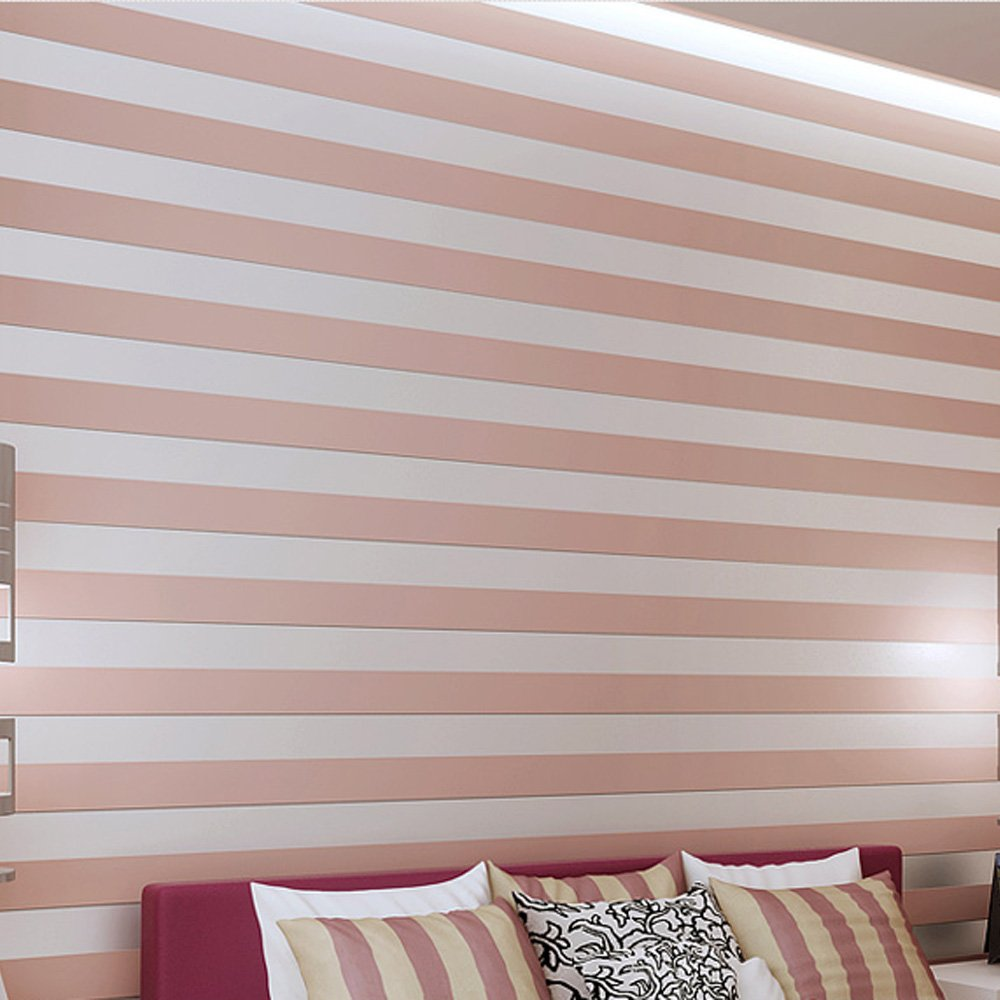 QIHANG European Modern Minimalist Country Luxury Stripe Wallpaper Roll for Living Room Bedroom Tv Backdrop Pink Color