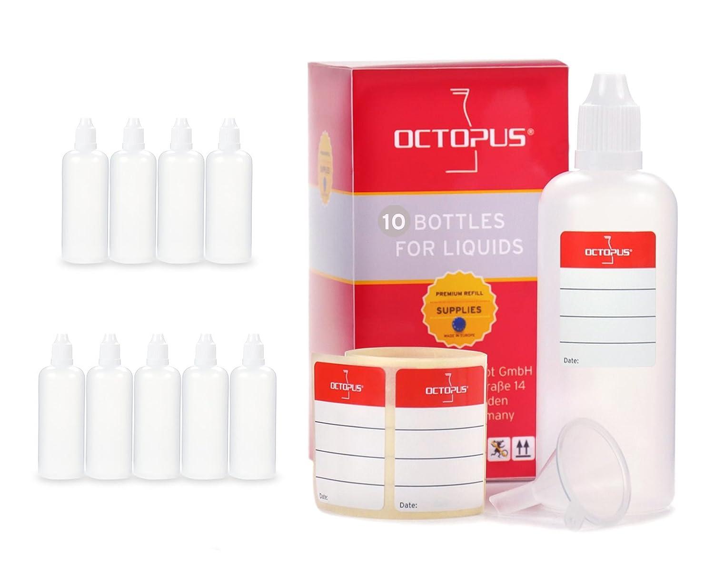Octopus 10x Frascos para líquidos de 100 ML con Embudo para, p. ej, E-líquidos o Cigarrillos electrónicos, frascos cuentagotas o exprimibles más tapón Blanco con Cierre de Seguridad para niños