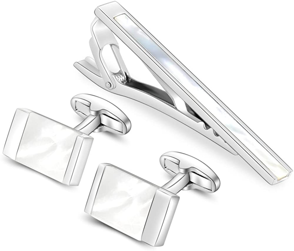 Merit Ocean Classic Cuff Links and Tie Clip Set for Mens Cufflinks French Dress Shirts with Gift Box