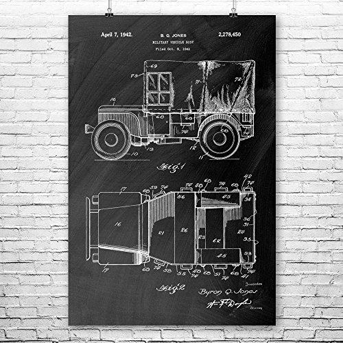 Willys Jeep Poster Art Print, Willys MB, Ford GPW, WW2, Mili