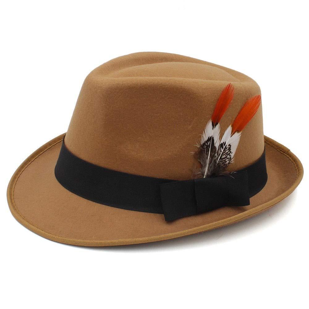 ZLQ Fashion Women Men Felt Fedora Hat with Fashion Feather Jazz Church Hat Top Hats