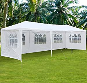 Yaheetech 10' x 30' Waterproof Party Wedding Tent Canopy Gazebo, with Removable Side Panels,White