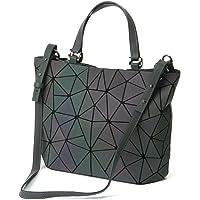Femmes poignée sacs géométriques sac lumineux Sacs à main en cuir PU et sacs à main des femmes Sac à bandoulière sac à main holographique éco