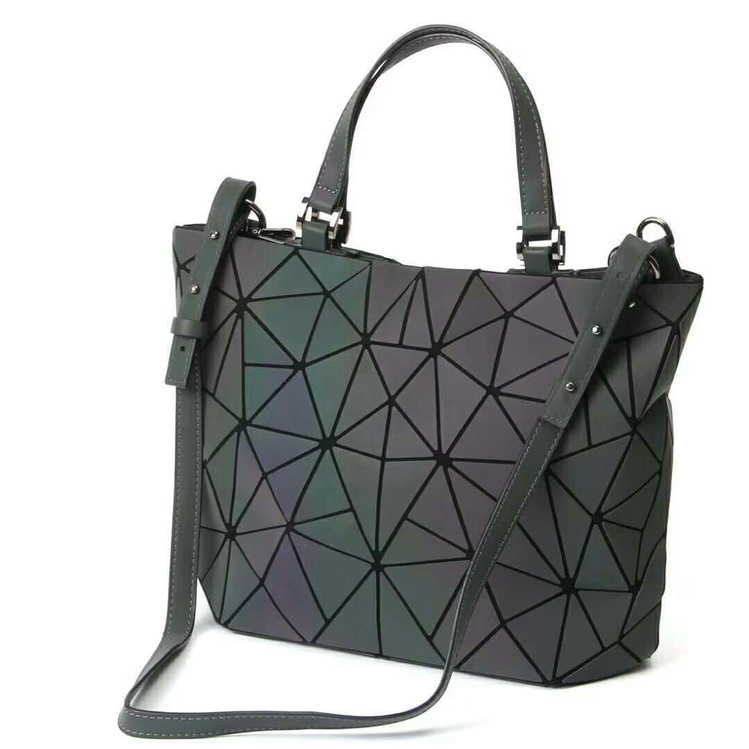 deccc122270ea Qingmei-EU Frauen Top-Henkeltaschen Geometrische leuchtende Tasche PU-Leder  Geldbörsen und Frauen