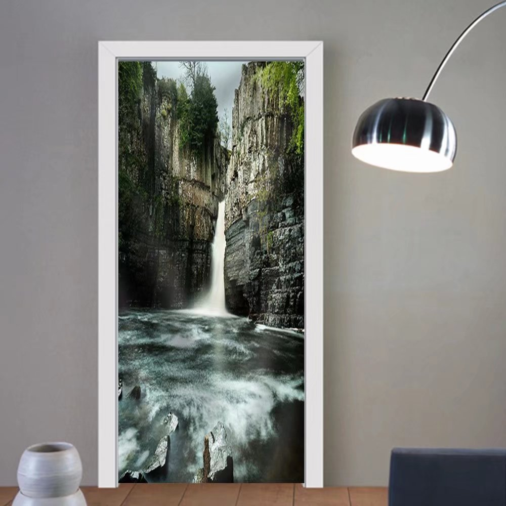 Gzhihine custom made 3d door stickers LaUIFcape with Mountain and Waterfall Fabric Home Decor For Room Decor 30x79