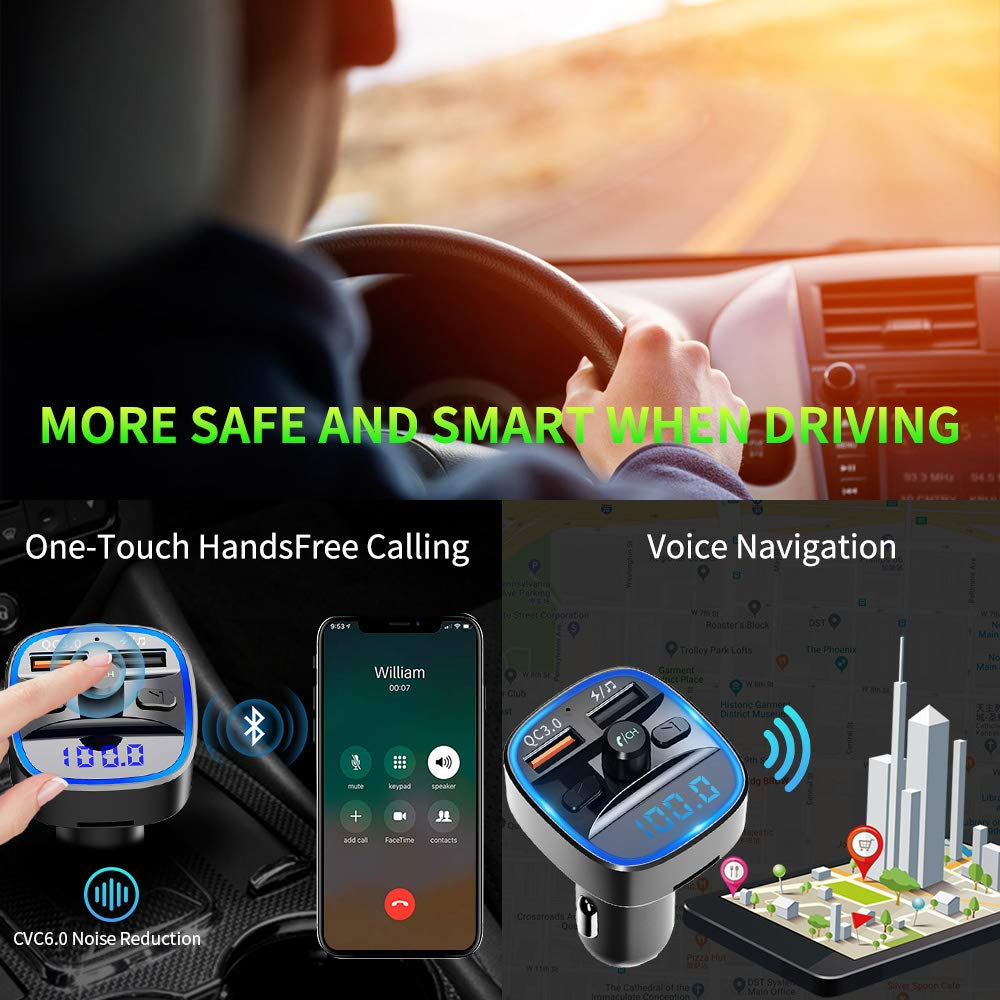 Universal Bluetooth Transmitter Car kit Bluetooth FM Transmitter for Car QC 3.0 Wireless Bluetooth FM Audio Transmitter Adapter with Hands-Free Calling,Support USB Disk