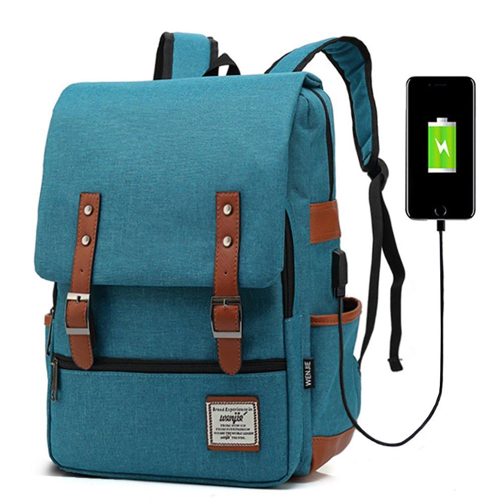 Junlion Unisex Business Laptop Backpack College Student School Bag Travel Rucksack Daypack with USB Charging Port Blue