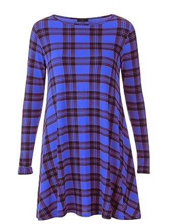 0e973f491a7 Classic Women Ladies Tartan check long sleeve printed swing skater dress  Plus Size 8-26 (XXXL-UK(24)