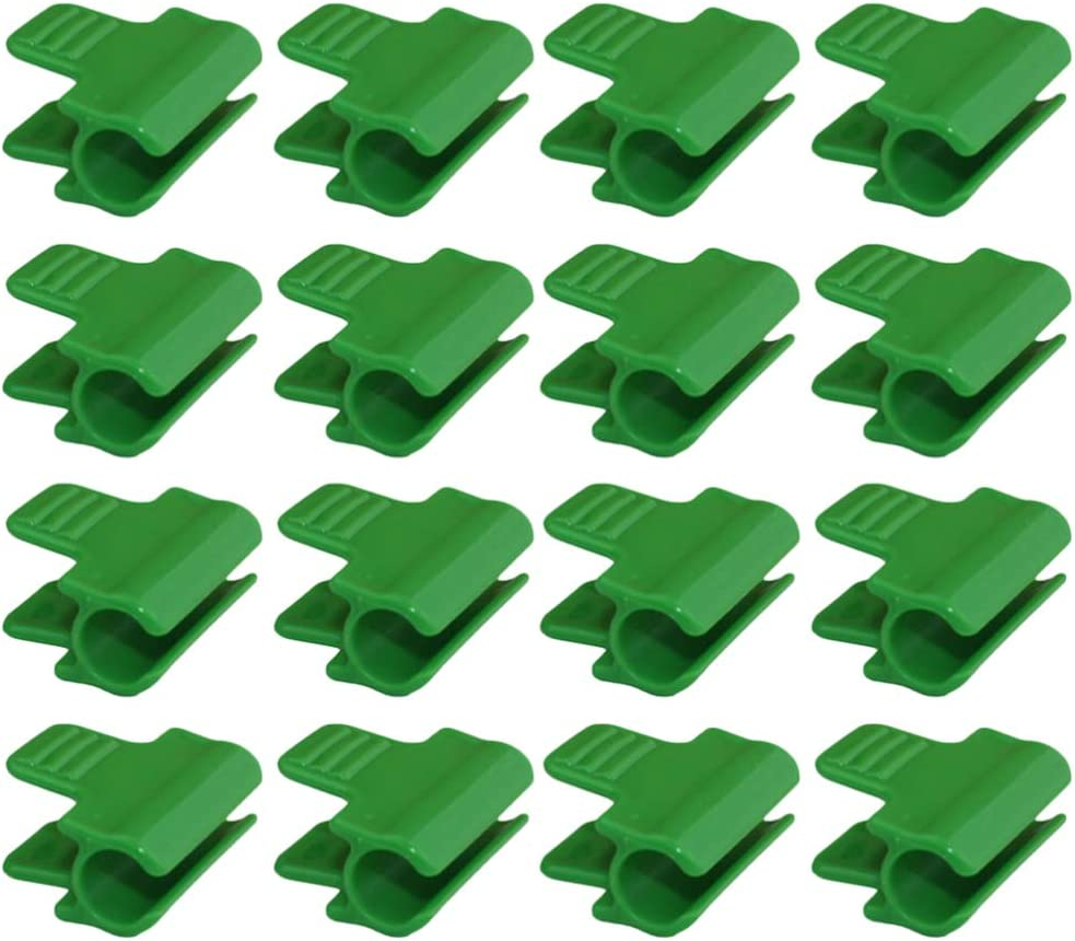 Cabilock 50pcs Greenhouse Pipe Clamp Garden Hoop Clips for Row Cover Film Shading Trellis Pipe and More 11mm (Green)