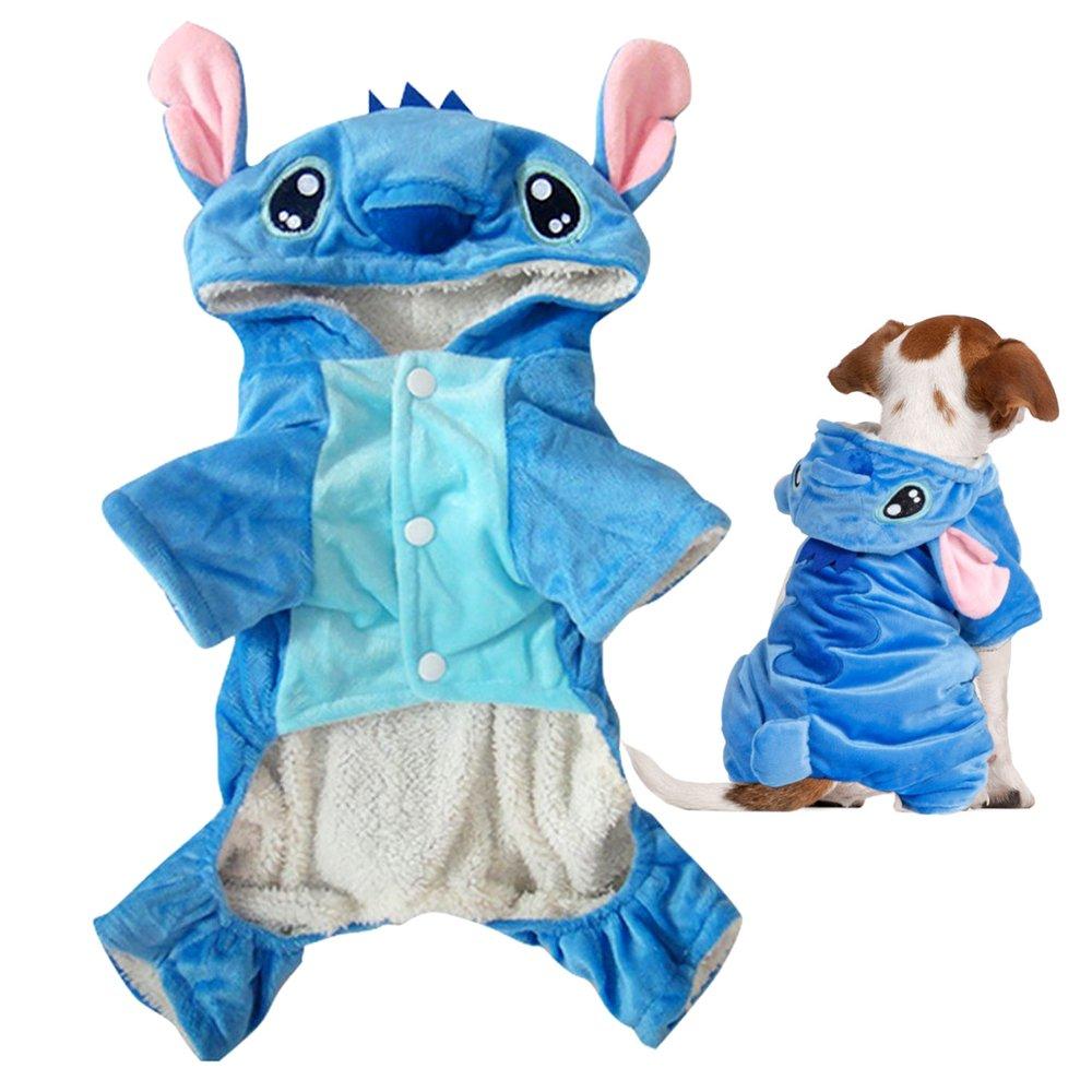Gimilife Pet Costume, Disney Stitch Cartoon Pet Custume Coat,Pet Outfit,Pet Pajamas Clothes Hoodie Coat for Small Medium Large Dogs and Cats,Halloween and Winter(XXL)
