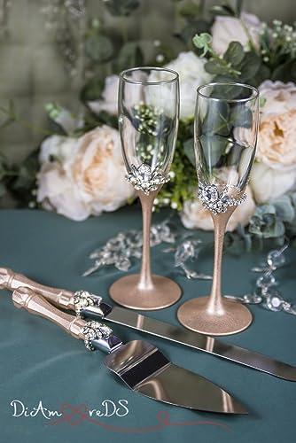 rose gold and crystal wedding toasting glasses and cake server set rose gold champagne flutes wedding cake server crystal cake knife 4pcs