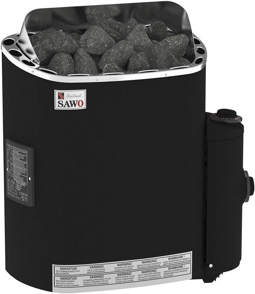 NB Mod/èle 230V 1-phase 400V 3-phase Sauna Po/êle /Électrique 4,5 kW Sawo Scandia Fiber avec Rev/êtement de Flocage Thermo-s/ûr avec Unit/é de Contr/ôle Int/égr/ée