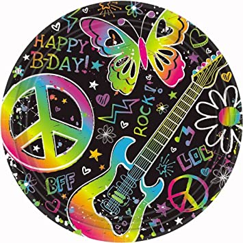 Amazon.com: Amscan Groovy Neon Doodle Birthday Party Dessert Paper ...