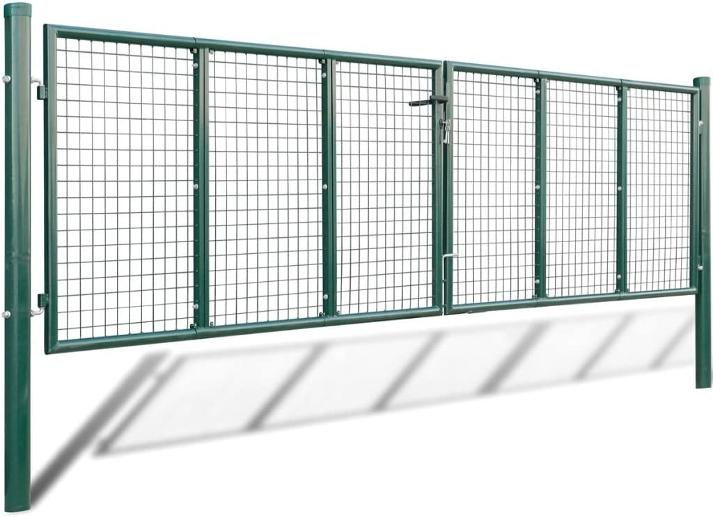 mewmewcat Zauntor Doppeltor aus Pulverbeschichtetem Stahl Zaunt/ür Gartent/ür Gartentor Dunkelgr/ün 306 x 200 cm