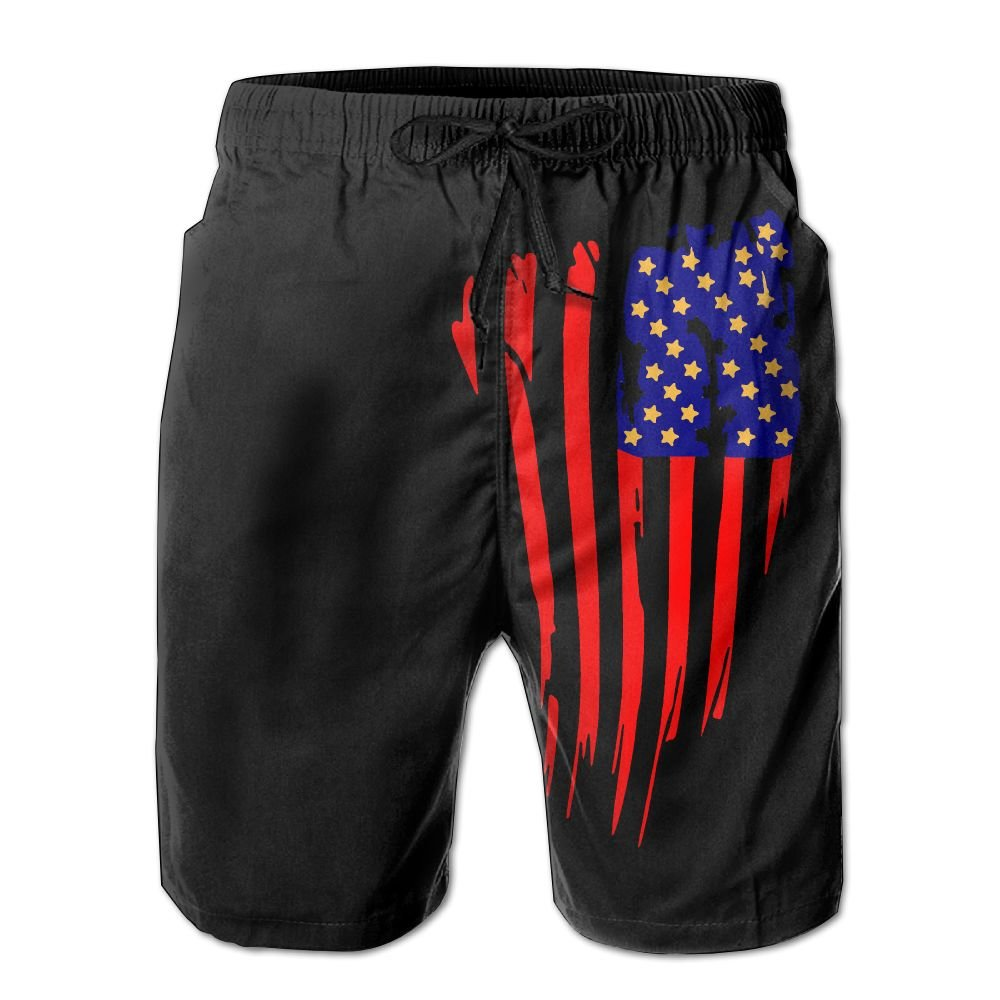 CHUNGCINVI Mens American Flag Comfortable Quick Dry Beach Board Shorts Elastic Drawstring Swim Trunks