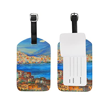 e2d6a8da6bf1 My Daily Italy Painting Luggage Tag PU Leather Bag Suitcases Label