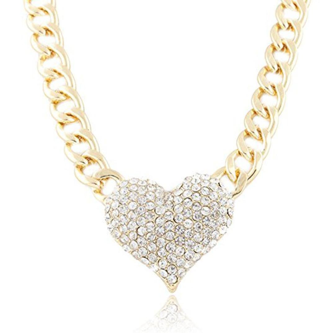 Heart-Shaped Pendant Necklace Laimeng Ladies 3D Heart Pendant with a 16 Inch Adjustable Link Chain Necklace (Gold)