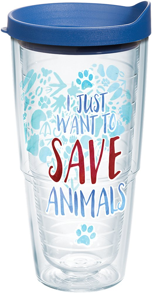 Tervis 1247349 Save Animals Tumbler with Wrap and Blue Lid 24oz, Clear