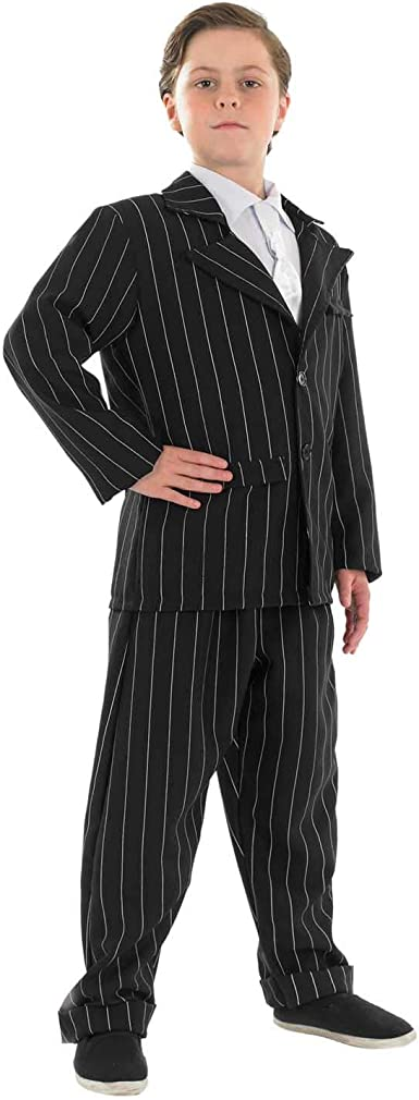 Kids Boys Gangster Black Pinstripe Costume 1920's Fancy Dress Party Outfit