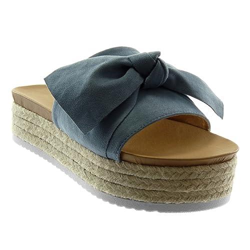 901444498bb1 Angkorly Chaussure Mode Sandale Mule Slip-On Plateforme Femme Noeud Corde  Tréssé Talon Compensé Plateforme