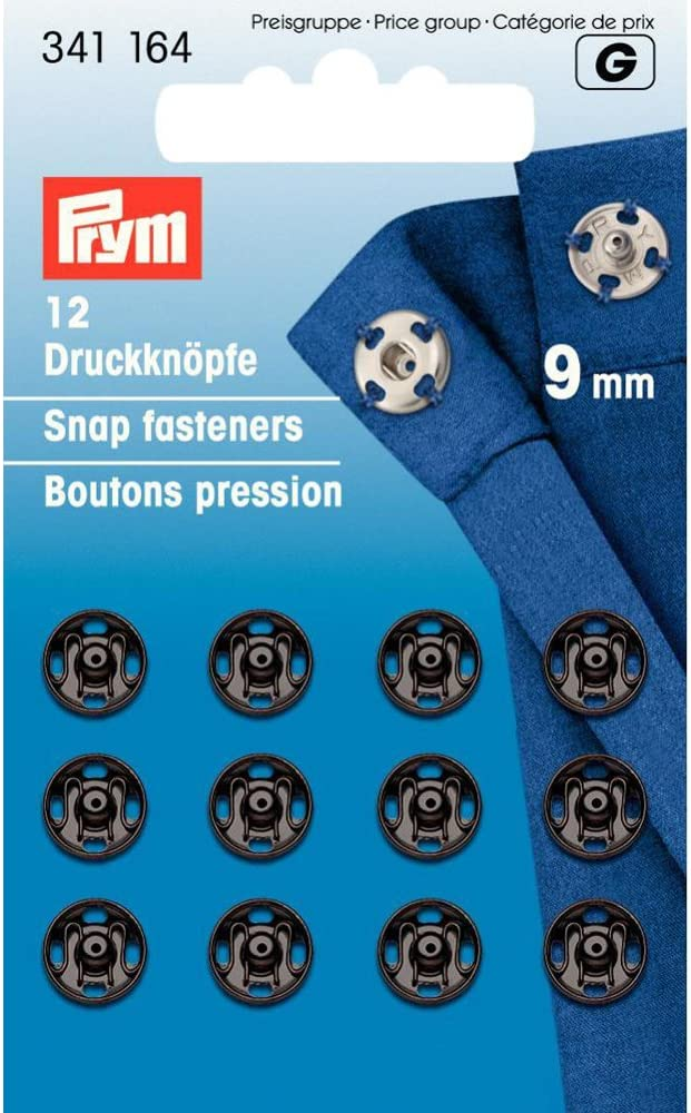 Prym 6 mm Sew-Corchetes lat/ón Negro 12 Unidades