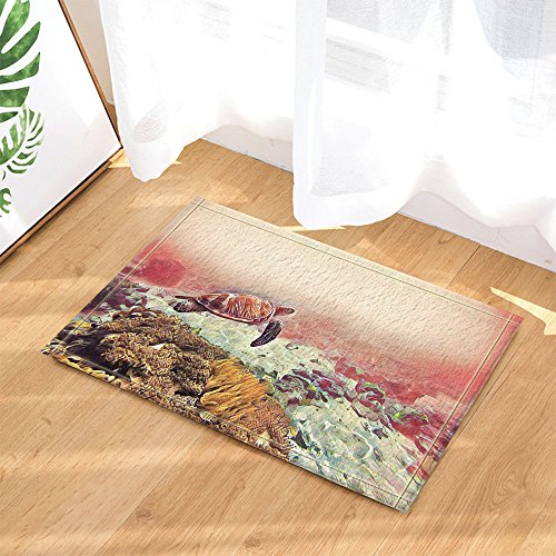 KOTOM Marine Seawater Animal Decor, Sea Turtle in Coral Reef Bath Rugs, Non-Slip Doormat Floor Entryways Indoor Front Door Mat, Kids Bath Mat, 15.7x23.6in, Bathroom Accessories (Coral Reef Table Coffee)