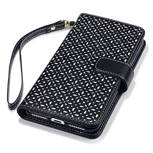 iPhone 8 Plus / iPhone 7 Plus Case, Terrapin Ätzen Blumen Handy Leder Brieftasche Case Hülle mit Kartenfächer für iPhone 8 Plus Hülle Schwarz