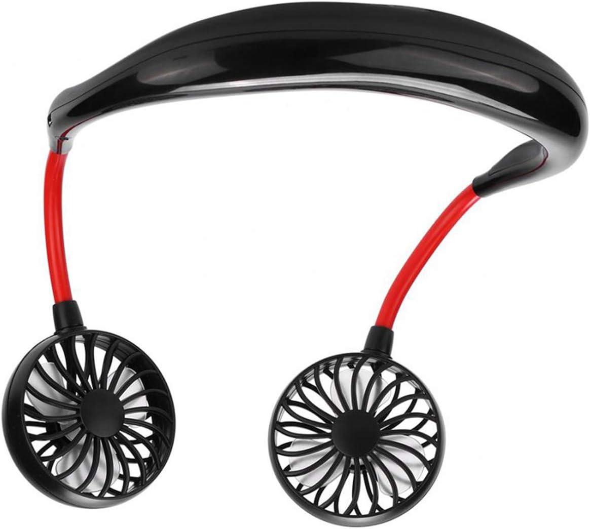 Neckband Wearable TEKEFT Portable Fan Earphone Design Hands-Free Small Personal Mini USB Fan Operating Neck Fan 360 Degree Adjustment Head Office Travel Outdoor Camping Black