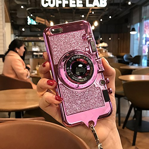 UCLL iphone 6 plus case iphone 6s plus New Modern 3D Vintage Style Portable Mirror Bling Camera Design Soft Cover For 5.5 iphone 6 plus/iphone 6s Plus with Strap Rope and a Screen protector (Purple)