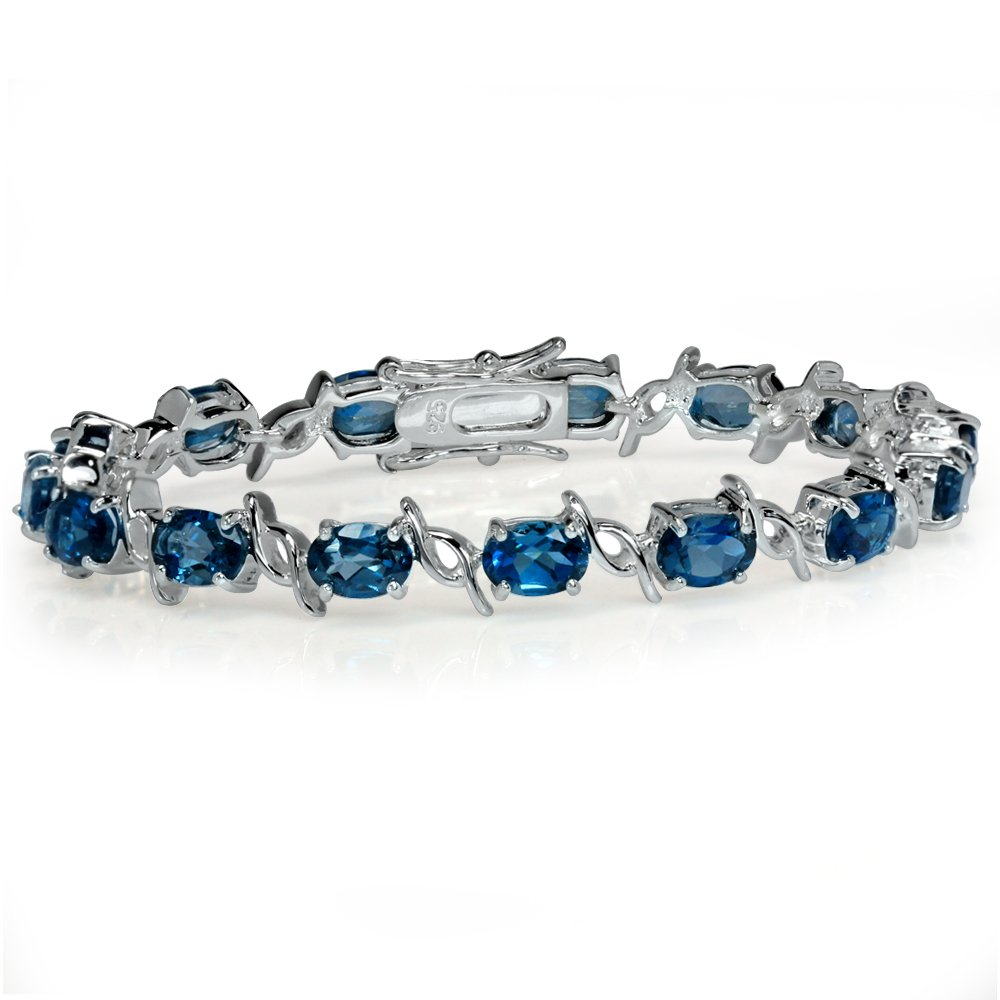 15.15ct. Genuine London Blue Topaz White Gold Plated 925 Sterling Silver Tennis Bracelet 6.5 Inch.