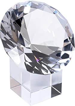 LONGWIN 100mm 3.9 inch Crystal Diamond Paperweight Jewels Wedding Decorations Centerpieces Home Decor Light Blue