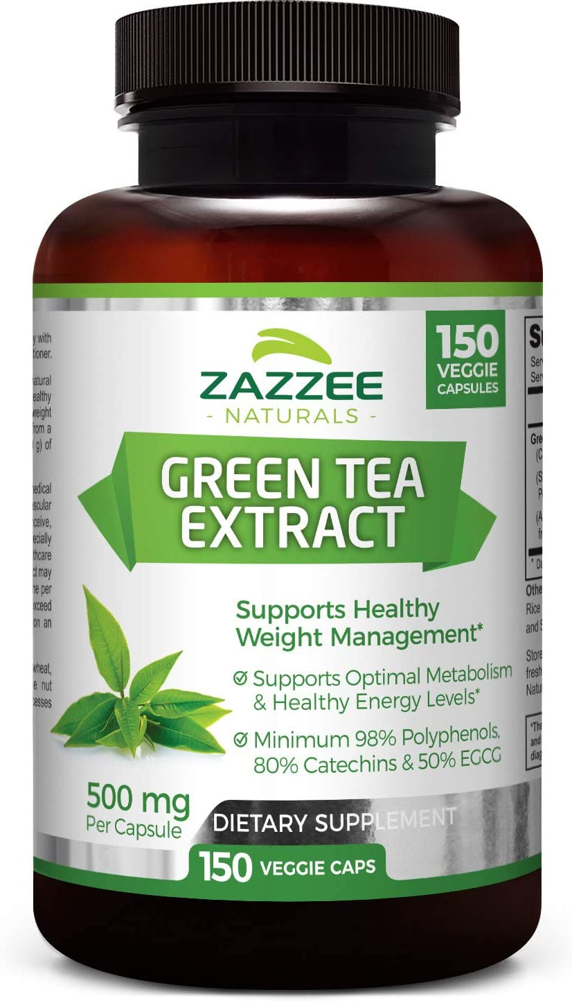 Zazzee Green Tea Extract, 150 Veggie Caps, Potent 20 1 Extract, 10,000 mg Strength, Minimum 98 Polyphenols, 80 Catcehins and 50 EGCG, Up to 5 Month Supply, Vegan, Non-GMO and All-Natural