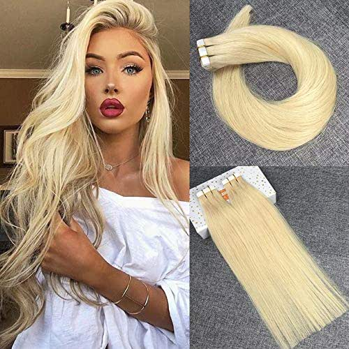 Reysaina 22 Inch Tape in Hair Extensions Human Hair Bleach Blonde Color #613 Remy Human Hair Extensions Straight Seamless Hair Extensions Tape in Blonde 20Pcs/50g