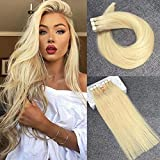 Reysaina 20inch 40g 20pcs Remy Human Hair Tape in Extensions Bleach Blonde #613 Glue in Real Hair Extensions