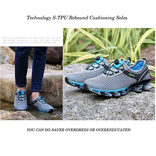 Breathable Shoes Walking Casual On Big Slip Fashion Men Mesh Shoes Size Stylish Running Springblade Sneakers Athletic Grey UFpqH0q