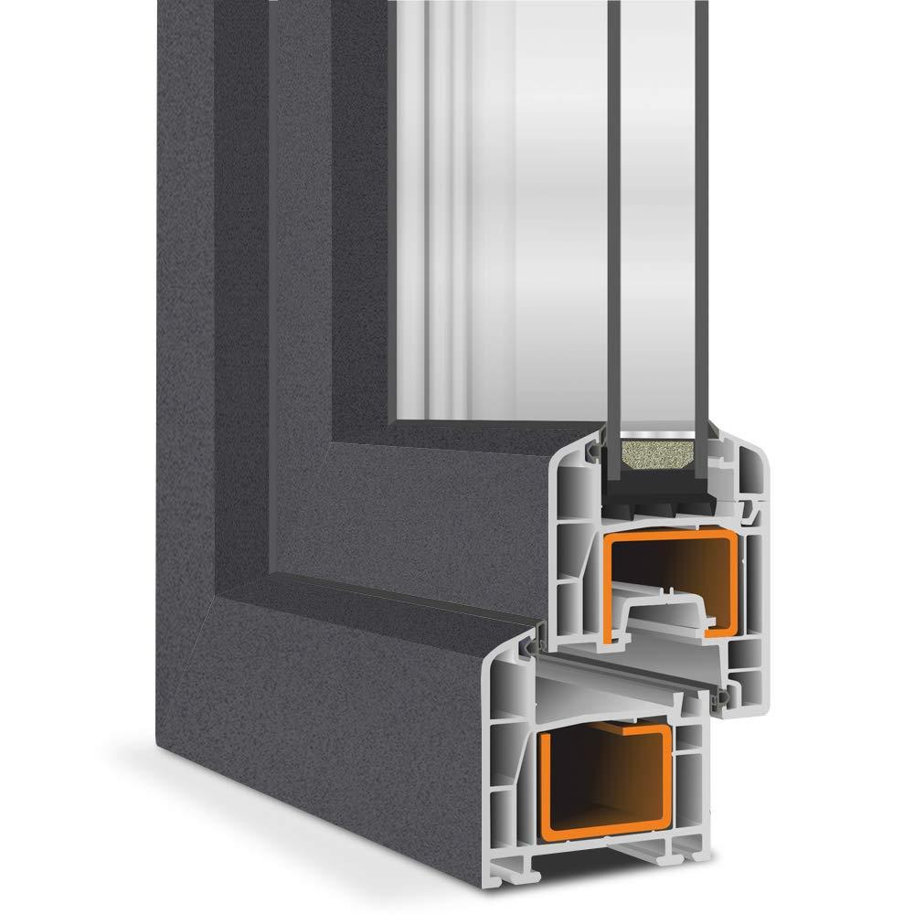 innen wei/ß Premium 2 Fach Kellerfenster PVC Fenster BxH: 50x40 cm DIN Rechts Dreh Kipp au/ßen Anthrazit