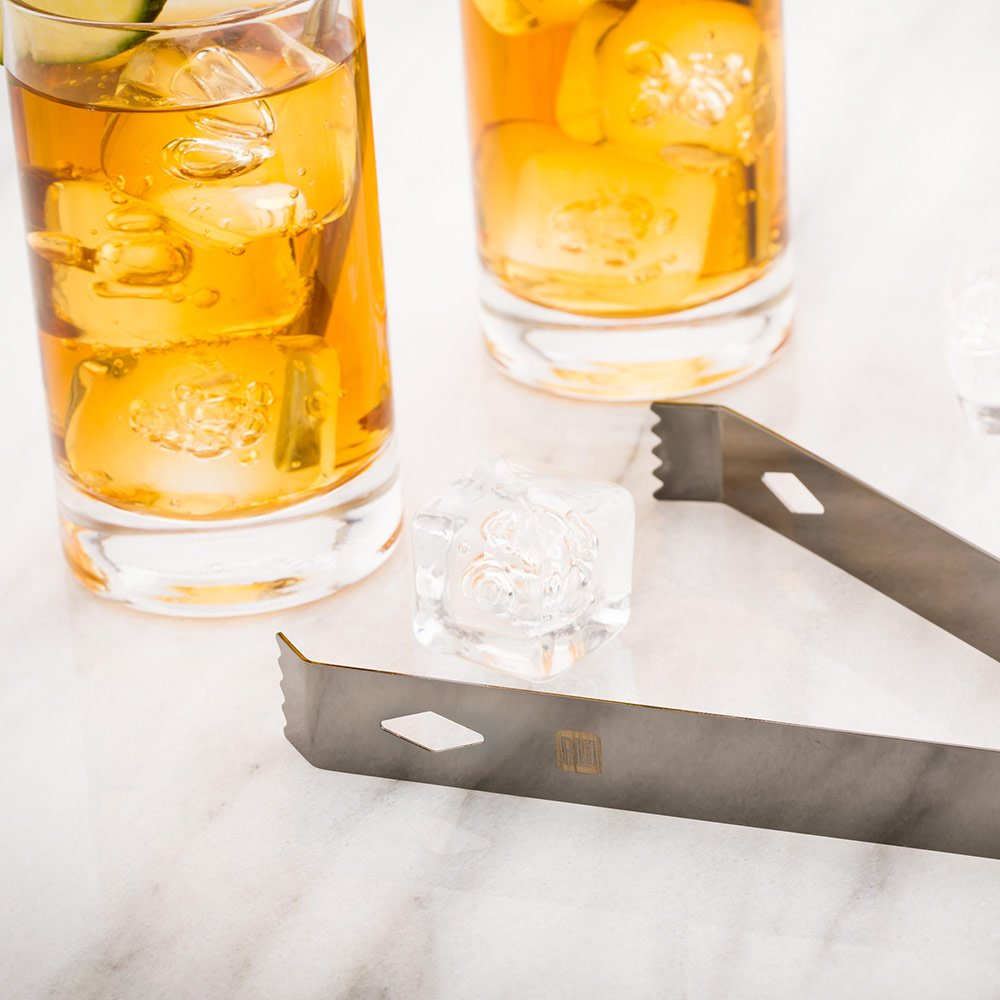6.25-inch Stainless Steel Ice Tongs: Perfect for Professional Bars or At Home Use – Black Plated – Grasps Both Small and Large Ice Cubes With Ease – 1-CT – Restaurantware