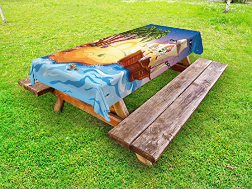 (Ambesonne Pirate Ship Outdoor Tablecloth, Ghost Ship on Exotic Sea Near Treasure Island with Palm Trees and Open Chest, Decorative Washable Picnic Table Cloth, 58 X 120 Inches, Multicolor)