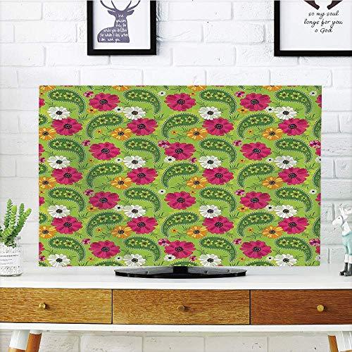 Multi Style,Paisley,Floral Pattern with Vivid Paisley Print Old Vintage Boho Style Print Decorative,Pistachio Pink Orange,Customizable Design Compatible 65