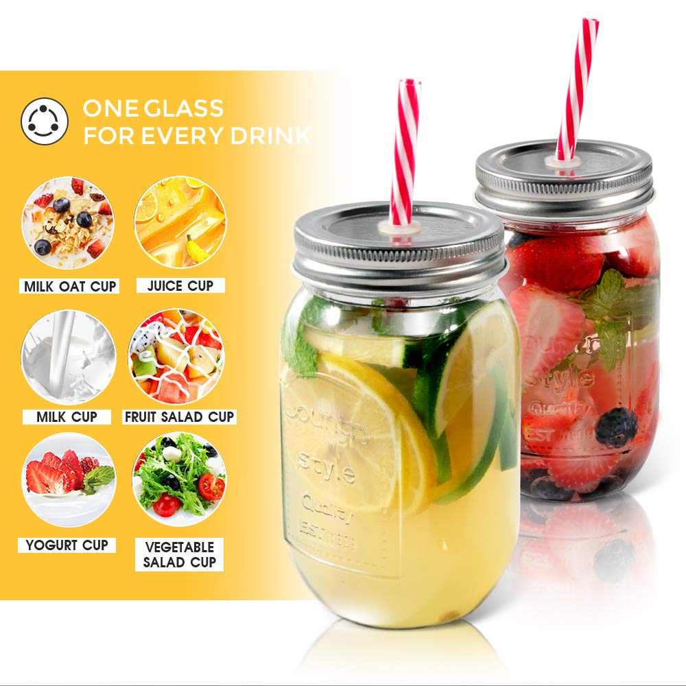 Mastertop 6 Pcs 16.9 Ounce Mason Drinking Jars with Lids  Recycled Glass Bottles and Drinking Straws with 3 Extra Sealing Lid