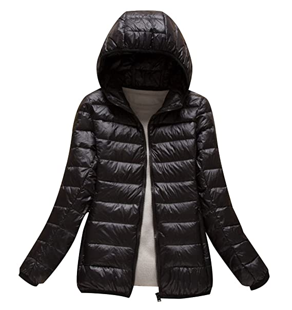 ISSHE Womens Down Puffa Jacket with Hood Women Ladies Winter Hooded Padded Coats Down Puffer Quilted Coat Jackets Bubble Coat Overcoat Women's Parka