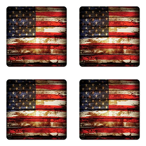 Ambesonne American Flag Coaster Set of 4, Us over Old Rusty Tones Weathered Vintage Social Plank Artwork, Square Hardboard Gloss Coasters for Drinks, Standard Size, Red Blue
