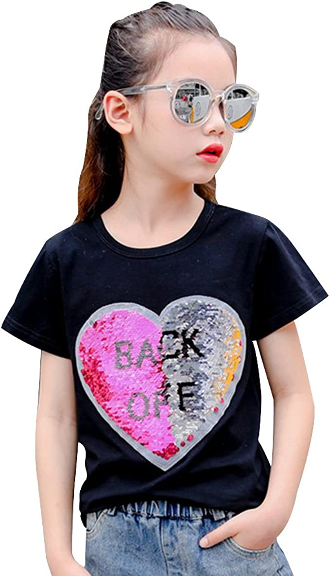 Amazon Com Sequin T Shirt For Girls Cute Reversible Heart Funny Short Sleeve Tee Tops Clothing