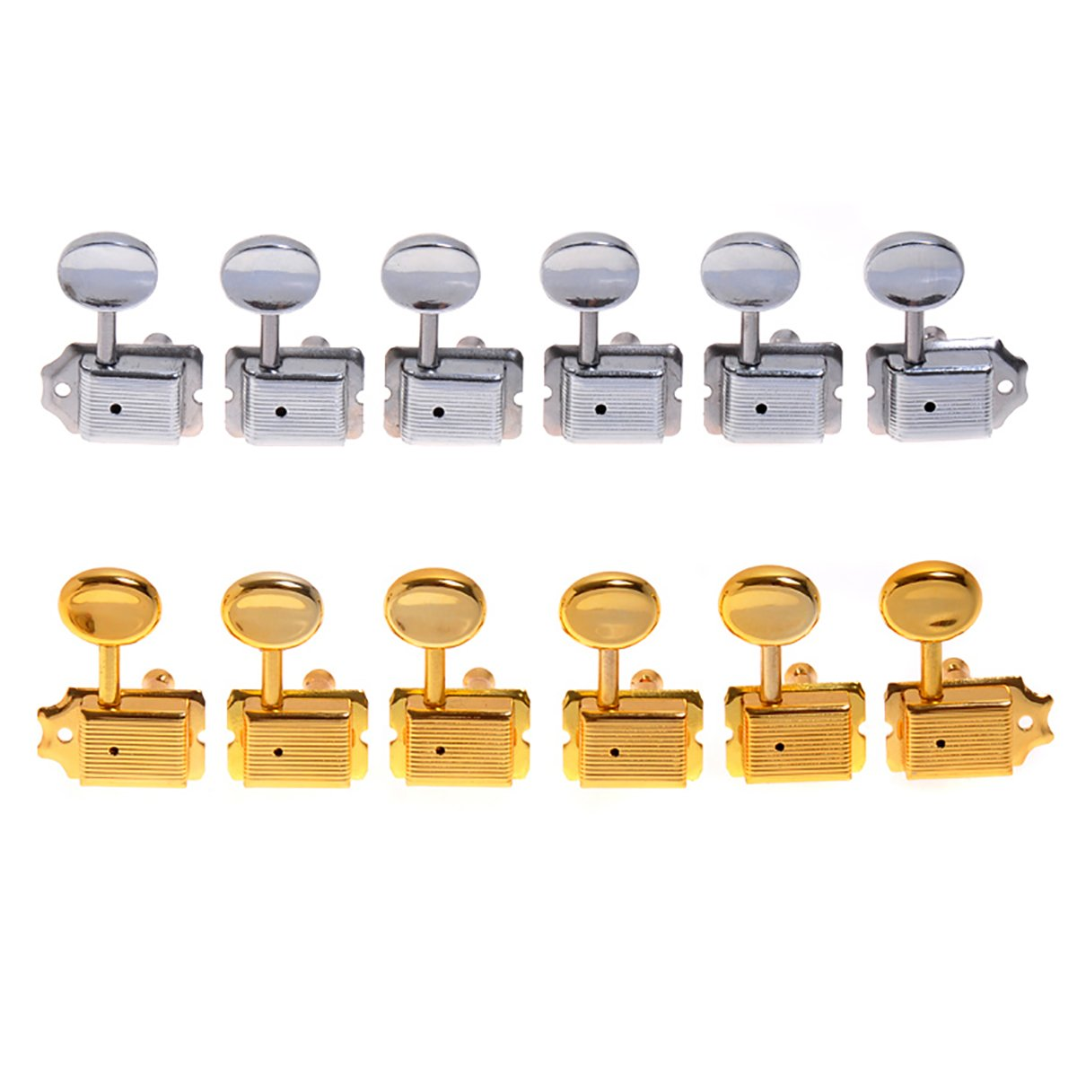 Kmise a7957クローム&ゴールドSemi Closed Electric Guitar Tuning Pegs Machine Heads for Fender交換用、2セット B00S0ZQD3K