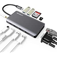 LETSCOM 11-in-1 USB C Adapter Hub with Ethernet, 4K HDMI, 1080P VGA, Power Delivery, 2 USB3.0 & 2 USB2.0, SD & TF Card Reader, Audio Jack