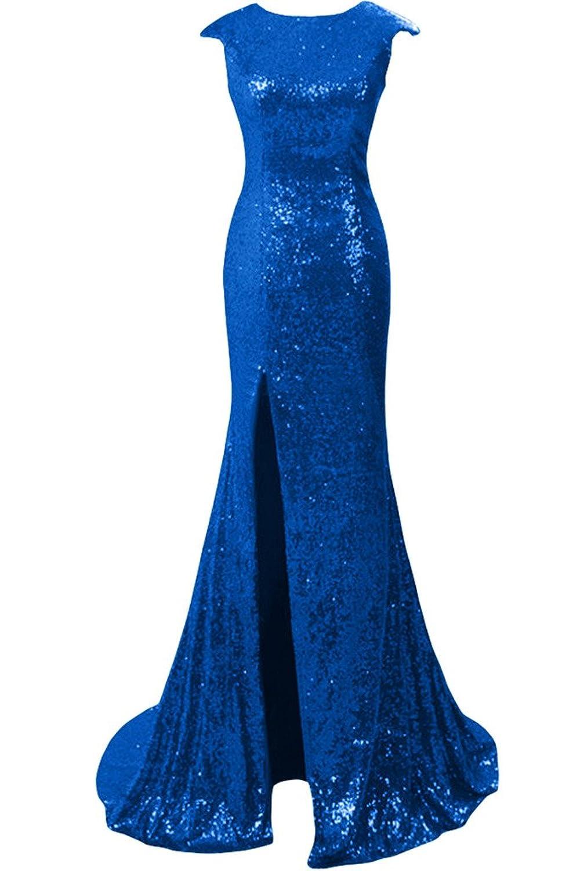 Gorgeous Bride Long Sequins Prom Party Dress Cap Shoulder Evening Gown Slit
