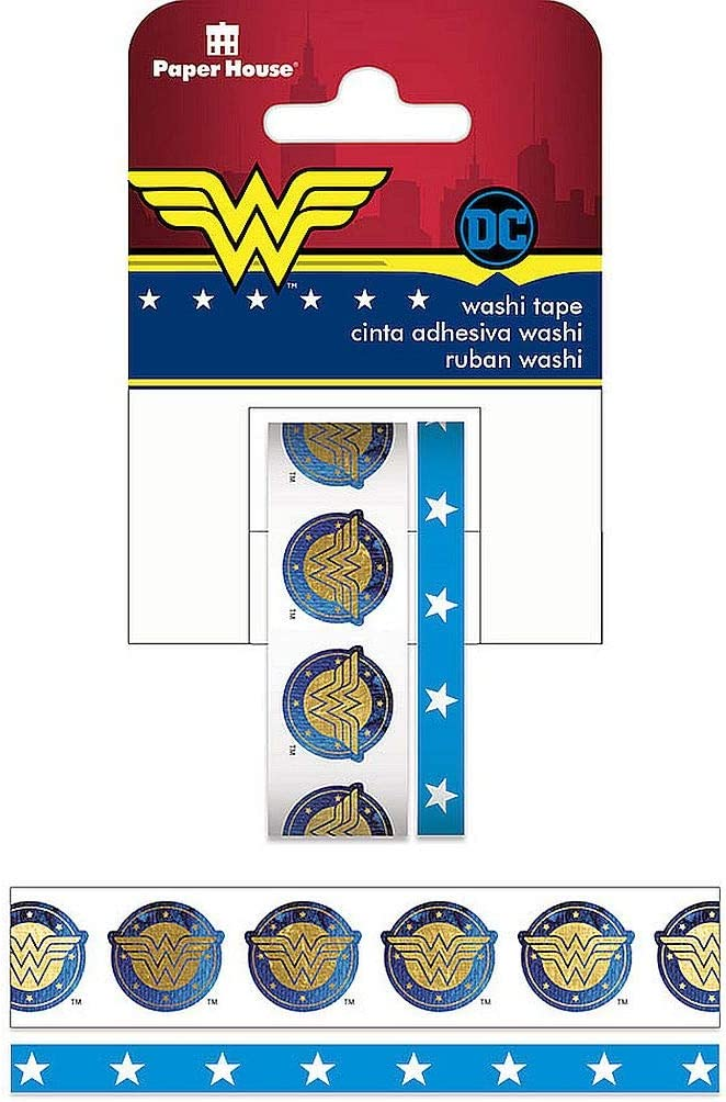 Paper House Productions DC Comics Wonder Woman Logo Set of 2 Foil Accent Washi Tape Rolls for Scrapbooking and Crafts